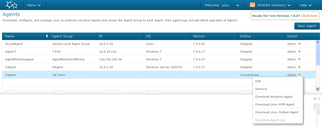 Upgrade Harmony 4 - Download Agent